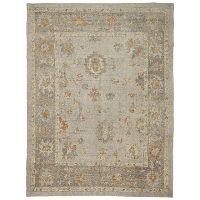 Contemporary Turkish Oushak Area Rug - 11′2″ × 14′7″ For Sale