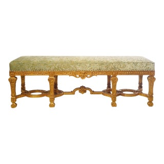 21st C. French Style Carved Giltwood Bench For Sale