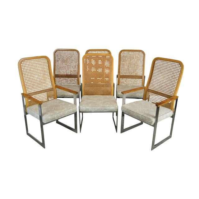 Milo Baughman for Lane Mid Century Modern Set 6 Cane Back Chrome Dining Chairs For Sale