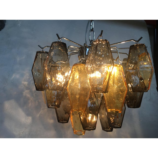 """Italian """"Poliedro"""" Amber and Fume Chrome Metal Frame Murano Glass Chandelier For Sale - Image 9 of 11"""