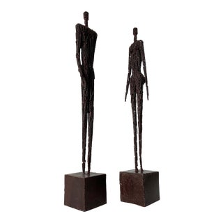 1970s Vintage Brutalist Figure Sculptures - a Pair For Sale
