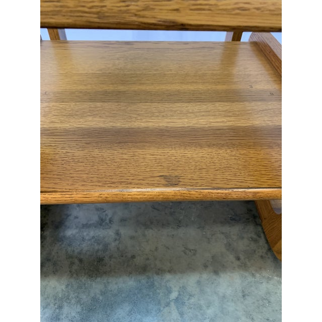 1970s Mid-Century Modern Lou Hodges Oak and Smoked Glass End Tables -- a Pair For Sale In Charlotte - Image 6 of 10