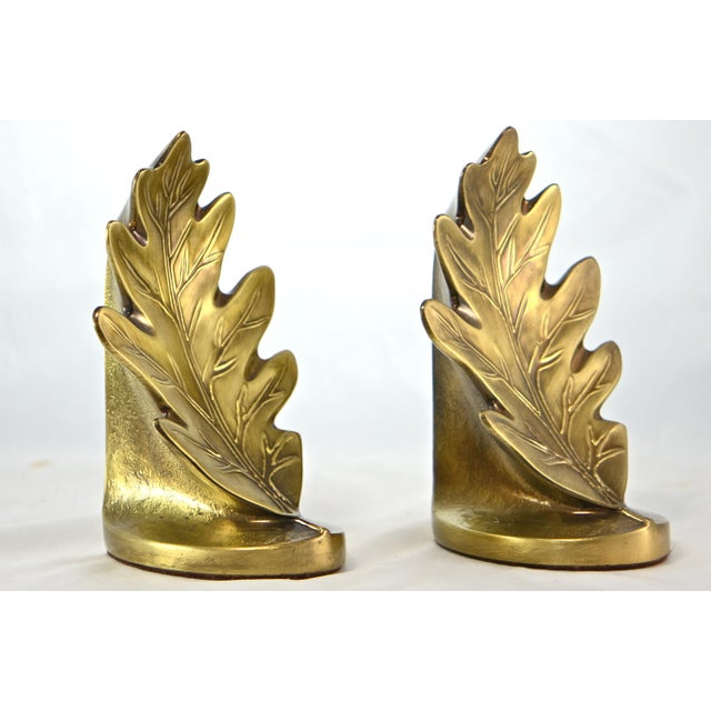 Brass Oak Leaf Bookends - A Pair - Image 2 of 8