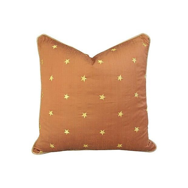Silk Pillows W/ Embroidered Gold Stars - A Pair - Image 4 of 6