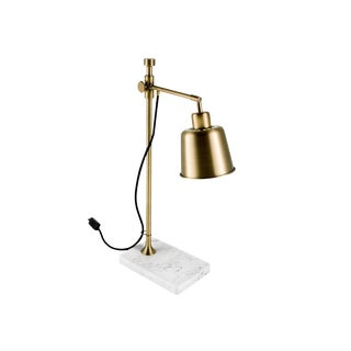 English Brass Desk Lamp With Stone Base For Sale