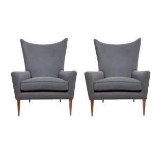 Morton Curved Back Wing Chairs - a Pair For Sale