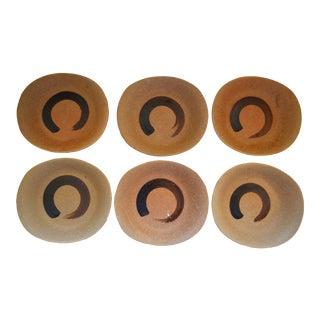 Japanese Ceramic Stoneware Enso Salad Plates - Set of 6