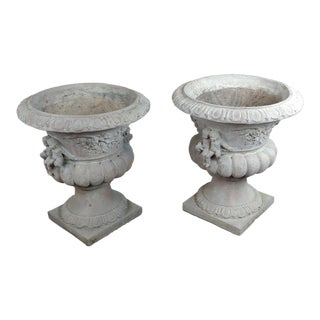Antique Italian Concrete Urns Planters With Cherubs - A Pair For Sale