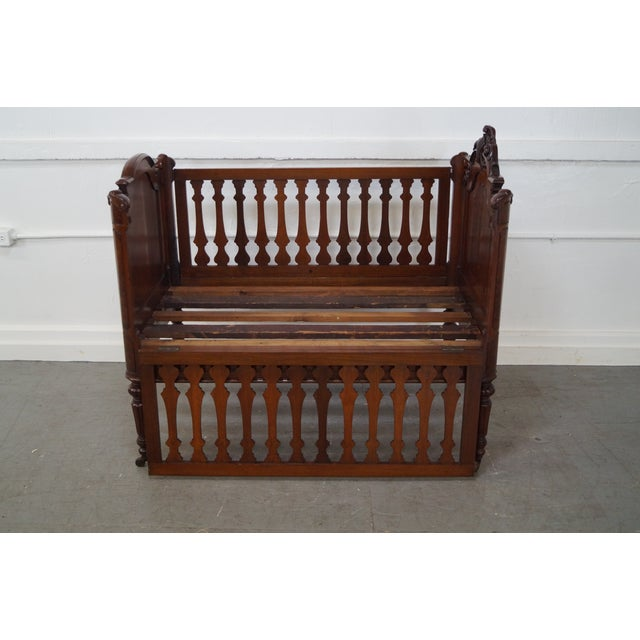 Antique Walnut American Renaissance Baby/Doll Crib For Sale - Image 5 of 10