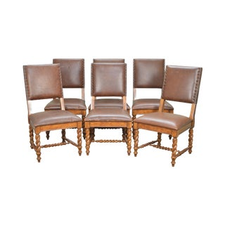 Stanley Barley Twist Brown Leather Dining Chairs - Set of 6