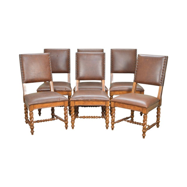 Stanley Barley Twist Brown Leather Dining Chairs - Set of 6 For Sale