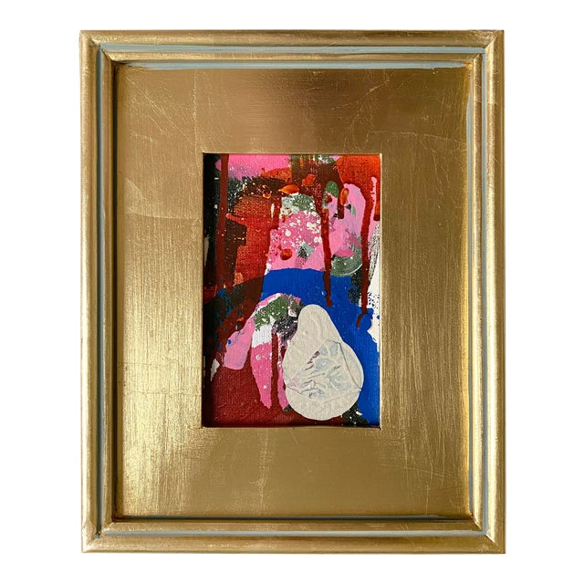 """""""Ice Cream Accident"""" Mini Painting With Gold Frame For Sale"""