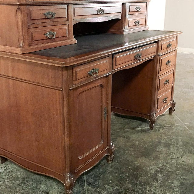 Grand 19th Century Louis Philippe Mahogany Desk With Bookcase For Sale - Image 9 of 13