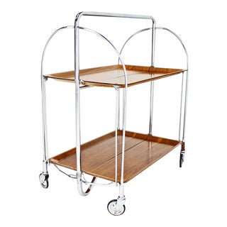 Mid-Century Modern Folding Tea Cart in Chrome and Molded Plywood For Sale