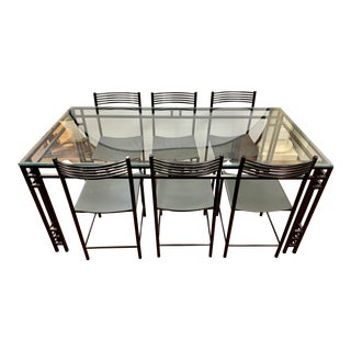Vintage Italian Black Metal and Glass Dining Set, Table, 6 Chairs For Sale