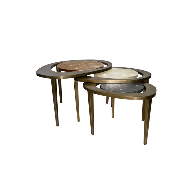 White Peacock Nesting Coffee Table in Cream Shagreen and Brass by R&y Augousti For Sale - Image 8 of 9