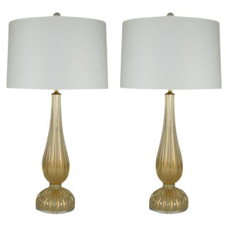 Vintage Murano Glass Table Lamps Gold For Sale