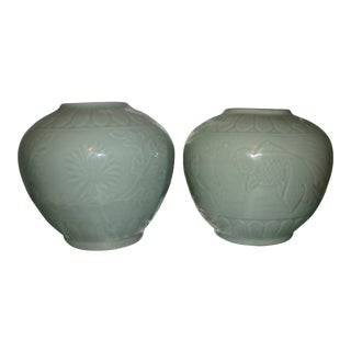 Chinese Celadon Koi and Floral Vases or Jars - a Pair For Sale