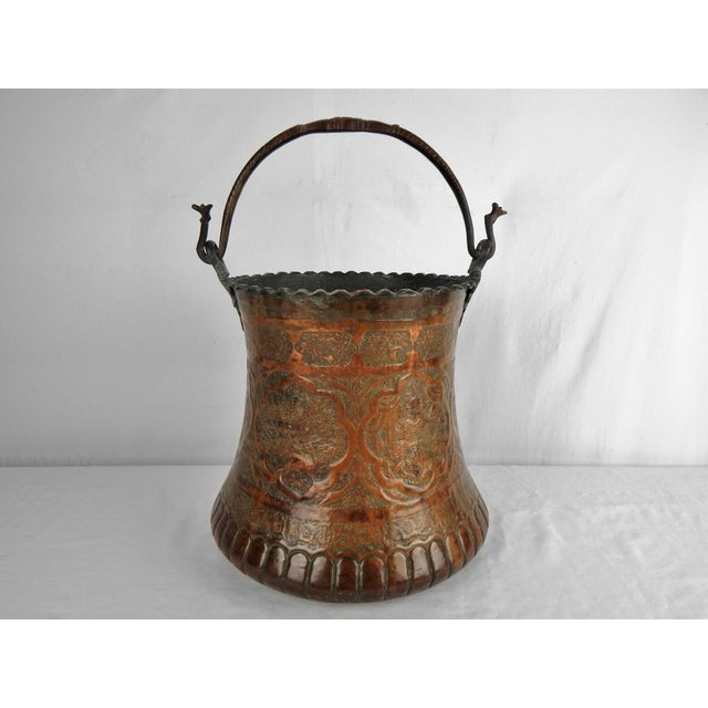 Large Moorish Copper & Pewter Pail For Sale - Image 10 of 10