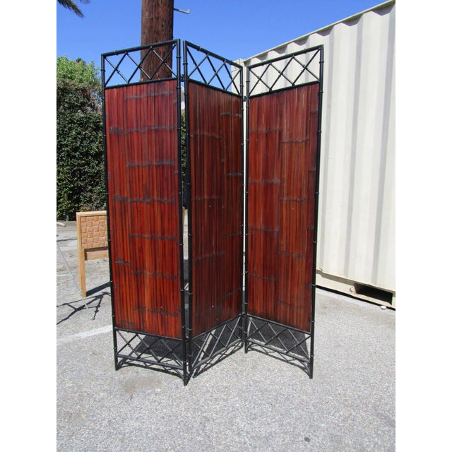 Mid-Century Modern Wrought Iron & Bamboo Slet, 3-Panel Screen For Sale - Image 3 of 6