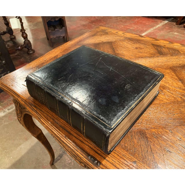 """Leather 19th Century English """"Life of Christ"""" Black Leather Bound Book With Gilt Dated 1857 For Sale - Image 7 of 9"""