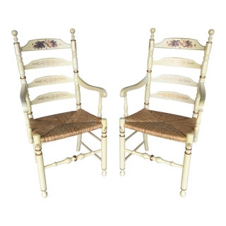 Mid Century Vintage L. Hitchcock Ivory Harvest Ladder Back Arm Chairs- A Pair For Sale