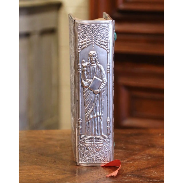 Mid 20th Century Midcentury French Holy Bible With Silver Plated Repousse Cover Dated 1960 For Sale - Image 5 of 8