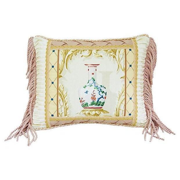 Designer Schumacher Chinese Vase & Silk Pillow - Image 4 of 6