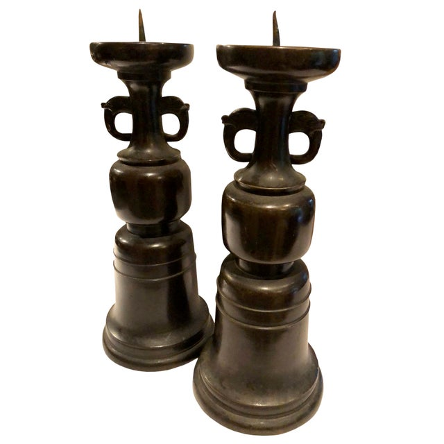 19th Century 19th Century Japanese Wooden Candlesticks - a Pair For Sale - Image 5 of 7