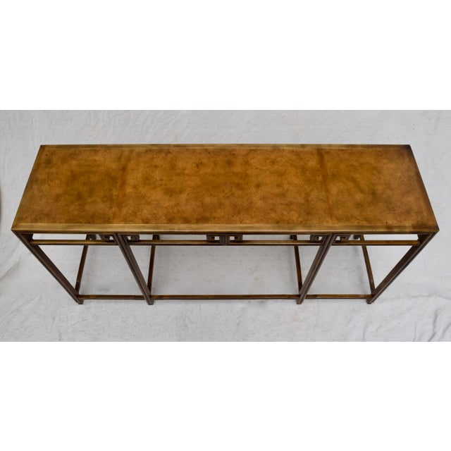 """A beautifully conceived and executed design, part of the """"Far East"""" collection by Baker; circa 1960. Features burl wood..."""