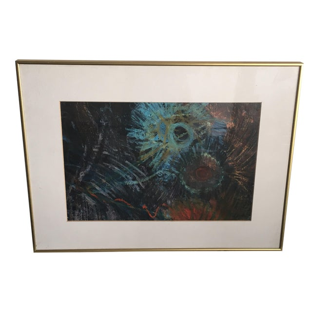 Fern Samuels Arc Gallery Turquoise Flower Painting - Image 1 of 7