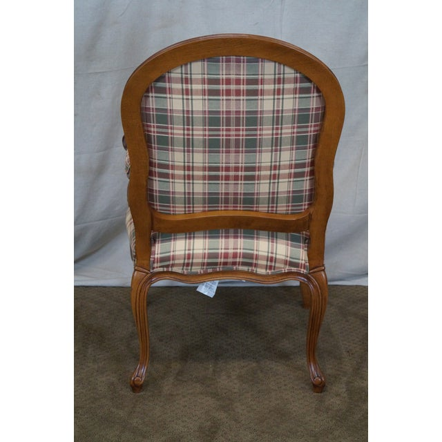 Fairfield French Style Plaid Upholstered Arm Chair - Image 4 of 10