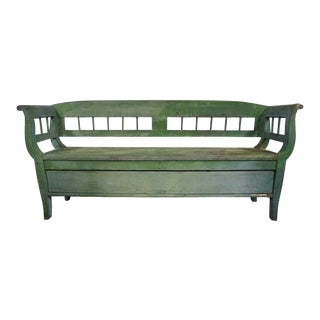 1960s French Country Hand Painted Green Storage Bench