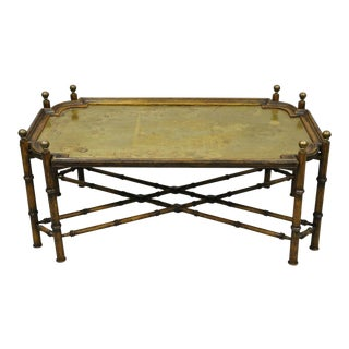 Vintage Faux Bamboo Chinese Chippendale Style Brass Tray Top Coffee Table For Sale