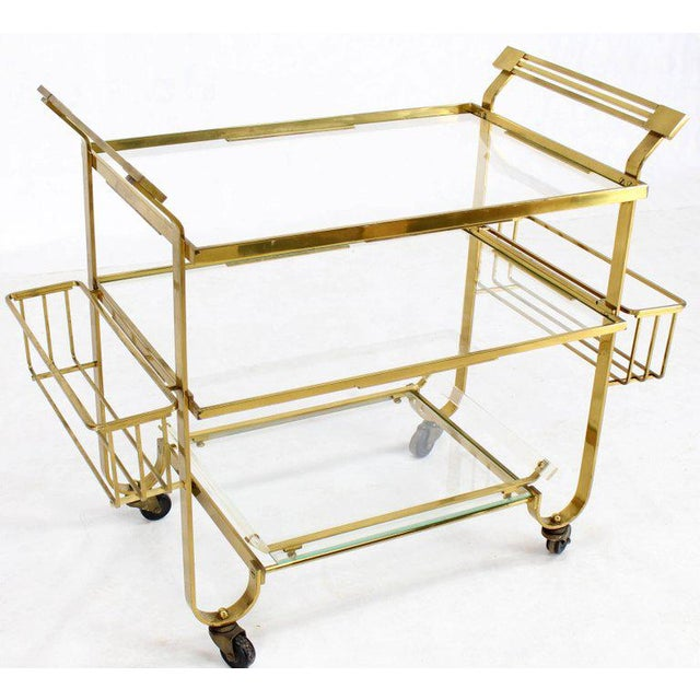 Mid-Century Modern Solid Brass and Glass Mid-Century Modern Bar Cart For Sale - Image 3 of 9