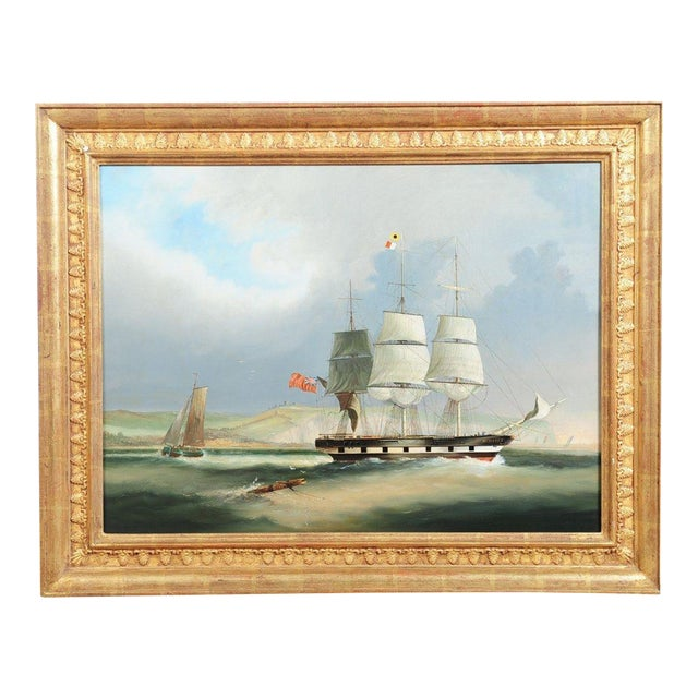 English Sail Boat - 19th Century Oil Painting - Image 1 of 12