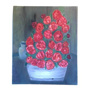 Charming Red Floral Still-Life For Sale