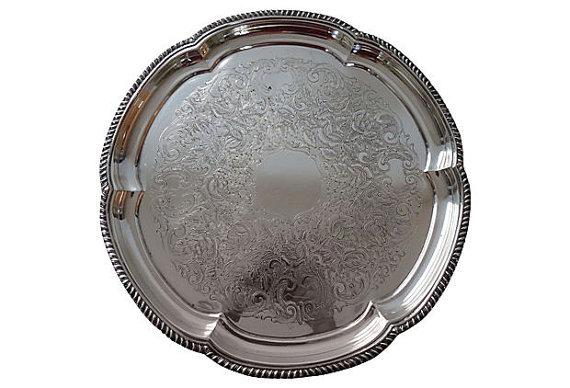 sheffield silver plate engraved serving tray chairish