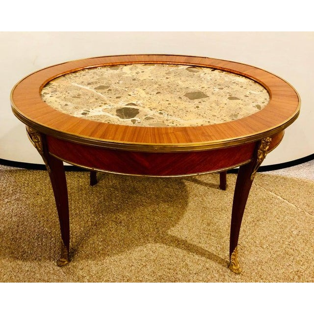 1920s Louis XVI Style Coffee or Low Table Walnut and Marble For Sale - Image 4 of 13