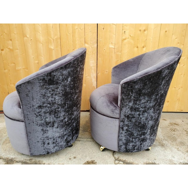 Contemporary Mid Century Modern Sculptural Directional Barrel Chairs on Casters Newly Uphostered - Pair For Sale - Image 3 of 12