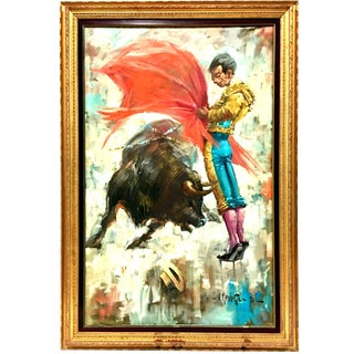 """Mid-20th Century """"Matador"""" Oil on Canvas Painting By, v. Marchetti For Sale"""