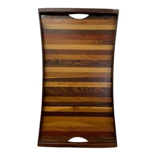 1970s Don Shoemaker Tapered Stripe Exotic Wood Service Tray For Sale