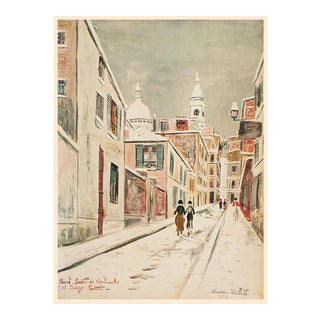 """1950s Maurice Utrillo """"Parisian Street"""", First Edition Period Lithograph For Sale"""