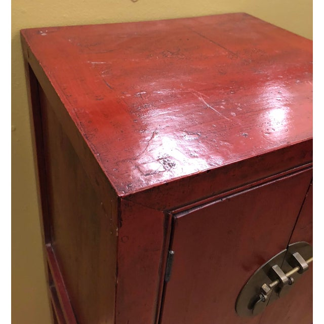 Red Antique Chinese Red Lacquer Cabinets - a Pair For Sale - Image 8 of 8