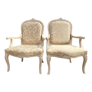 Faux Bois Carved Wood Armchairs - a Pair For Sale