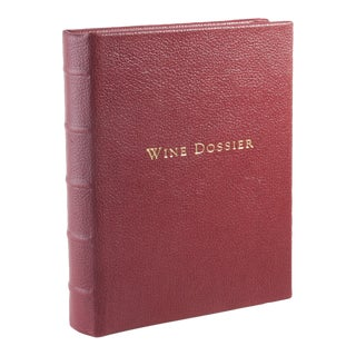 Wine Dossier Tabbed Journal, Goatskin Book in Garnet For Sale