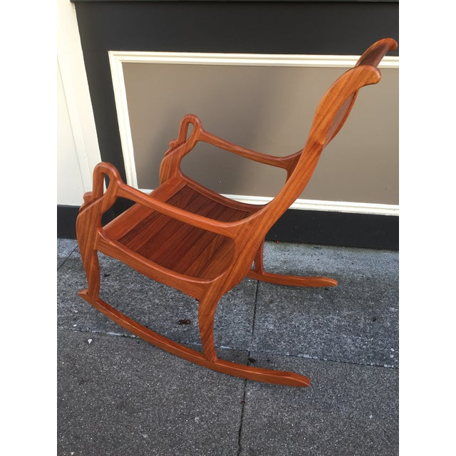 Solid Cherry Wood Rocking Chair For Sale - Image 10 of 11