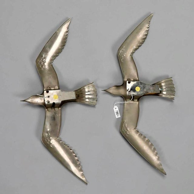 Pair Mid Century Aluminum Winged Gull Wall Lights or Sculptures For Sale - Image 4 of 5