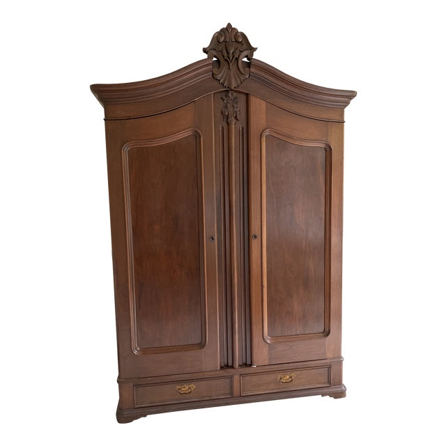 Antique French Wooden Wardrobe For Sale