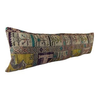 Turkish Kilim Lumbar Pillow 14x47 For Sale